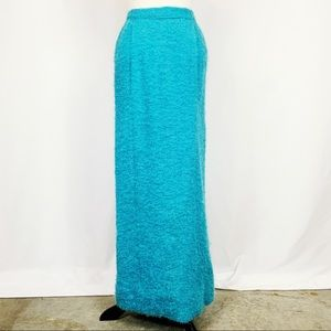 Vintage Fitted Bright Blue Woven Boucle Maxi Skirt